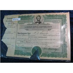 309. 1928 Lincoln Gold Corporation Stock Certificate for 5,000 shares.
