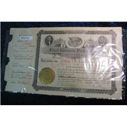 310. 1908 Fruit Growers Package Co. Stock Certificate for one share.