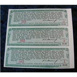 332. 1921 Walkill Stump and Land Clearing District Coupons 1,2, & 3. Each