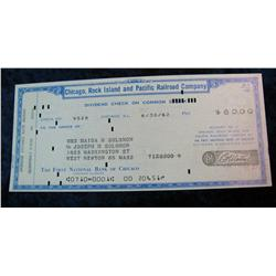 "334. 1962 Cancelled Dividend Check ""Chicago, Rock Island and Pacific"