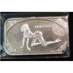 873. January Nude Collectors 1-Ounce Silver Bar.