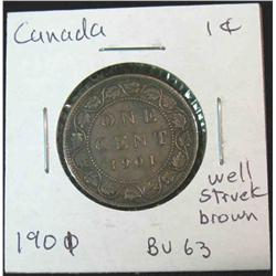 882. 1901 Canada Large Cent. Brown Unc.