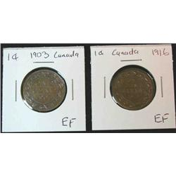 887. 1903 & 1916 Canada Large Cents. EF.