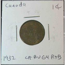 900. 1932 Canada Small Cent. Choice Brown Unc.