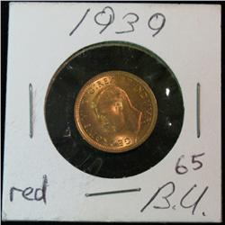 902. 1939 Canada Small Cent. Choice BU. Full Red.