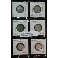 903. 1881H, 83H, 86, 92, 97 & 99 Canada 5-Cents.