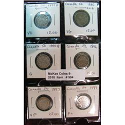 904. 1881H, 83H, 86, 92, 97 & 99 Canada 5-Cents.