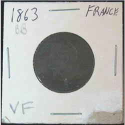 913. 1863BB France 5-Centimes. VF Cataloge Value $40.00.