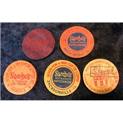930. (5) Different Wooden Nickels for Sambo's