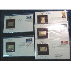 980. (5) 22K Gold Stamps First Day Covers 1983-1991