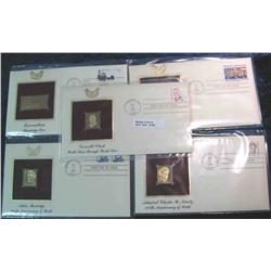 984. (5) 22K Gold Stamps First Day Covers 1984-1987