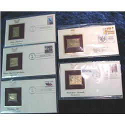 985. (5) 22K Gold Stamps First Day Covers 1983-1990