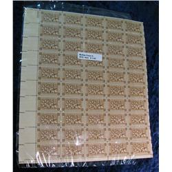 1160. Mint Sheet of 50 3c Fort Ticonderoga Stamps.