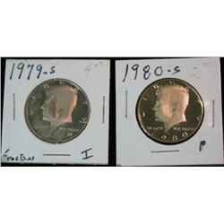 1169. 1979S & 80S Proof Kennedy Half Dollars.