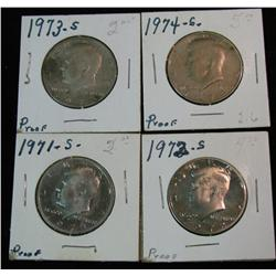 1170. 1971S, 72S, 73S & 74S Proof Kennedy Halves.