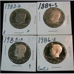 1171. 1983S, 84S, 85S & 86S Proof Kennedy Halves.