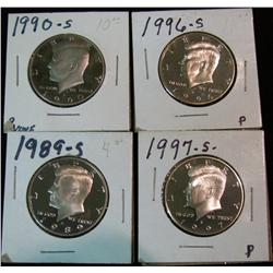 1172. 1989S, 90S, 96S & 97S Proof Kennedy Halves.