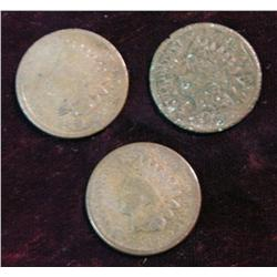 1186. 1869, 70 & 71 Indian Head Cents. AG.