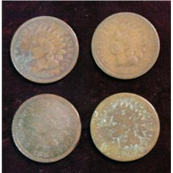 1187. 1881, 82, 83 & 84 Indian Head Cents. AG-G.