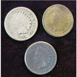 1195. 1862, 63 CN & 64 Br. Indian Head Cents. G.