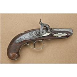 "Philadelphia Derringer, probably by Slaughter of  Philadelphia, .42 caliber, 6-1/2"" overall with  2-"