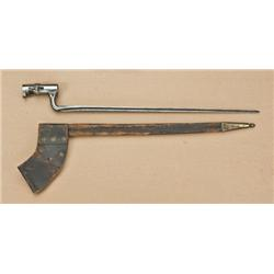 "US socket bayonet for .69 caliber musket with original scabbard. Blade approx. 18"", 21"" overall. No"