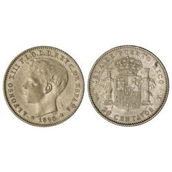 PESETA SYSTEM: ALFONSO XIII - 20 Centavos de Peso. 1895. PUERTO RICO. P.G.-V. EBC-/MBC+. 