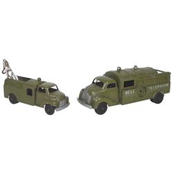 Toy Bell Telephone trucks, mfgd by Hubley Kiddie Toys-U.S.A., #475 & #504, both diecast metal, large