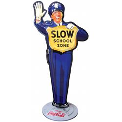 Coca-Cola Policeman School Crossing Guard sign, older 1950's version w/bottle logo on back, die cut
