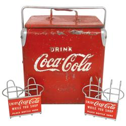 Coca-Cola picnic cooler, mfgd by Action Mfg Co., c.1950's, 14 H x 13 W x 9.25 D, some paint loss, o/