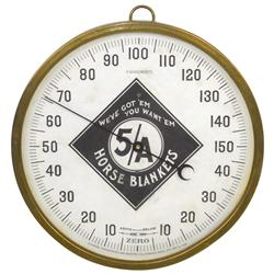 Advertising thermometer for 5/A Horse Blankets,  We've Got 'Em-You Want 'Em , dated 1888, from the S