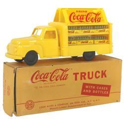 Coca-Cola truck, mfgd by Marx, yellow plastic w/6 cases of bottles, c.1950, VG cond w/orig box, 11 L