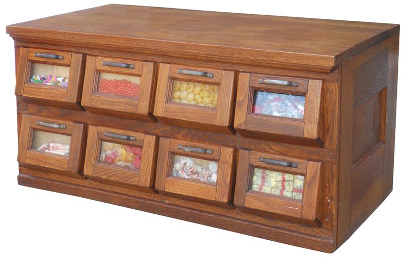 Etonnant Candy Or Seed Display Cabinet, Oak 8 Tip Down Doors W/glass. Loading Zoom