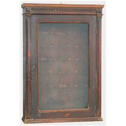 Jeweler's watch repair wall cabinet, wood w/glass door, hooks for hanging watches, Good cond w/orig