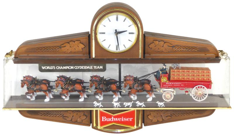 Breweriana, Budweiser Clydesdale hanging light-up sign w/clock ...
