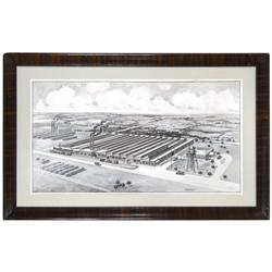Kennedy Car-Liner & Bag Co. framed pen & ink illustration w/wonderful detail by Edward Mason Co.-Ind