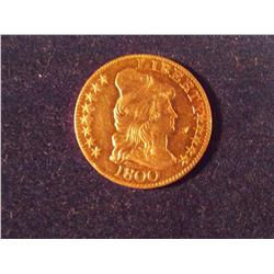 1800 $5 Capped Liberty Gold Coin, MS 62, BV $16,000