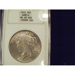 1923 Choice BU Silver Peace Dollar, Graded MS60