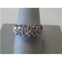 1 1/2 Carat Two Row Diamond Ladies Ring, 7.5 Gr 14K Gold