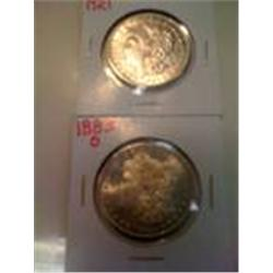 Two Silver Morgan Dollars,1921, 1883-O