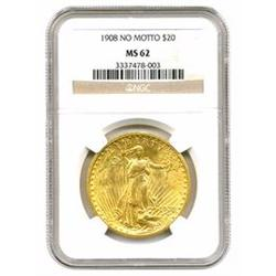 "1908 $20 Gold St. Gaudens No Motto"" MS62"