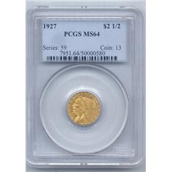 TOP GRADE 1927 $2.5 Gold  Indian Head, PCGS MS64