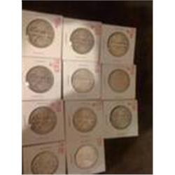 11 Nice Walking Half Silver Dollars, Good Grades