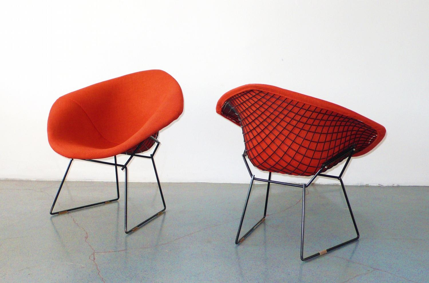 Harry Bertoia For Knoll Diamond Chairs, Pair C. 1950. Loading Zoom
