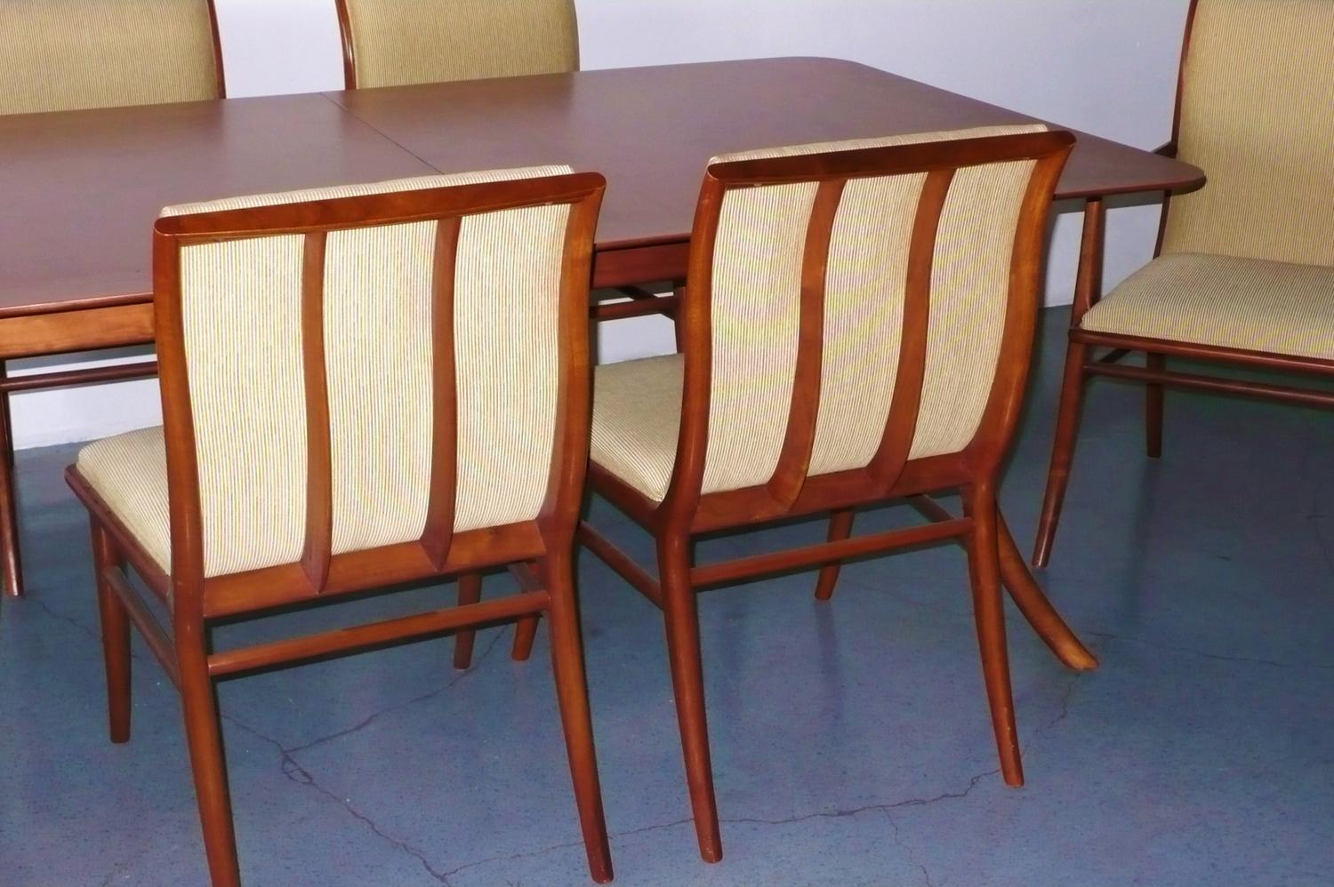 t h robsjohn gibbings sabre leg dining table with 6 chairs c 1950