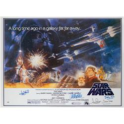Star Wars: Episode IV - A New Hope one-sheet poster signed by 6 principle cast members