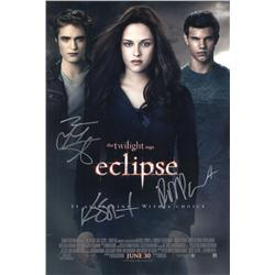 Eclipse mini-poster signed by Kristen Stewart, Robert Pattinson and Taylor Lautner