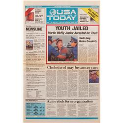 Prop USA Today newspaper  Youth Jailed: Martin McFly Junior Arrested for Theft  headline from Back t