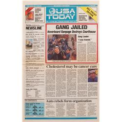 """Prop future USA Today newspaper """"Gang jailed: Hoverboard Rampage Destroys Courthouse"""" headline from"""