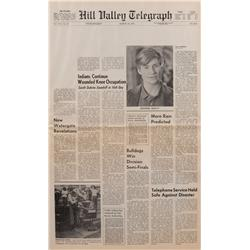 Prop Hill Valley Telegraph newspaper featuring George McFly from Back to the Future II